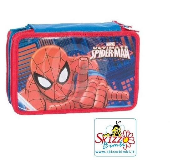 Astuccio tre cerniere spiderman scuola